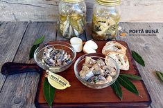 Conserva de peste in ulei picant sau cu usturoi Pickling Cucumbers, Pickles, Seafood, Dairy, Cooking Recipes, Pudding, Cheese, Table Decorations, Desserts