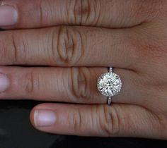 14k White Gold Forever Brilliant Moissanite by Twoperidotbirds. Engagement ring.