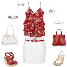 Red and White, created by rlb3 on Polyvore