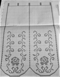 Crochet Diagram, Filet Crochet, Curtains, Knitting, Pattern, Farmhouse Rugs, Cross Stitch, Kitchen, Crochet Curtains