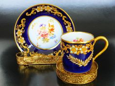 Limoges Antique Cup and Saucer