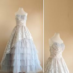 1950s prom dress   50s tulle blue by pistolpoppy on Etsy