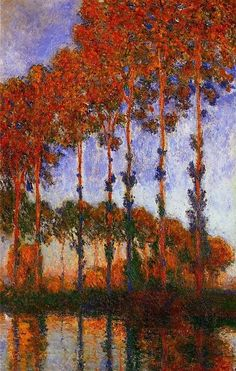 Claude Monet - Poplars Autumn, 1891. The magnificent trees were in a marsh along the banks of the Epte River a few kilometers upstream from Monet's home and studio.