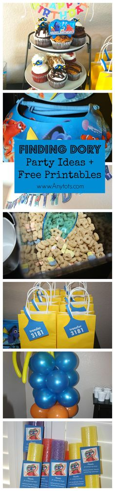 Finding Dory Birthday Party Ideas + Free Printable Finding Dory Favor Tags, Invitation, etc. www.anytots.com