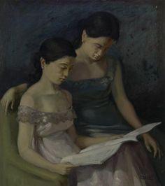 «Lectura», Carles Llobet Raurich, s.d. Oli sobre tela, 56 x 49 cm. MAMLL - 0679