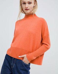 583c65c87ff4 ASOS DESIGN eco boxy sweater with ripple hem Orange Jumpers