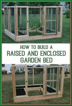 a raised and enclosed garden bed for your vegetable garden! Keep critters off your plants by building a raised & enclosed garden bed!Keep critters off your plants by building a raised & enclosed garden bed! Building A Raised Garden, Raised Garden Beds, Raised Beds, Vegetable Garden Design, Vegetable Gardening, Veggie Gardens, Gardening Books, Container Gardening, Organic Gardening Tips
