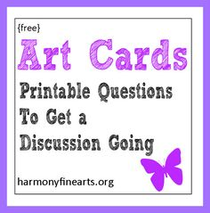 Free Art Question Cards- Help With Picture Study