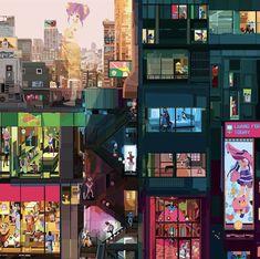 Pierpaolo Rovero illustra il mondo chiuso in casa Paris Amor, Bo Bartlett, People Illustration, Architecture, Drinking Tea, Get Dressed, Madrid, Times Square, Tokyo