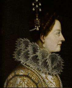 (detail) Studio of Jacopo Chimenti, called Jacopo da Empoli (Empoli circa 1554-1640 Florence) Portrait of Catherine de' Medici, bust-length, in profile, in a lace ruff and pearl headdress oil on canvas 61 x 47cm (24 x 18 1/2in). Another rare smile from this artist.