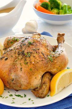 Slow Cooker Lemon Garlic Roast Chicken (5 minutes prep for an incredibly juicy roast chicken plus the secret to a great gravy)