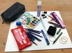 "Travel light when you are drawing out and about in a sketchbook. This is my very portable, multi-media sketching kit, which all fits into a little zip-case just 10"" x 4""! - Lynne Chapman"