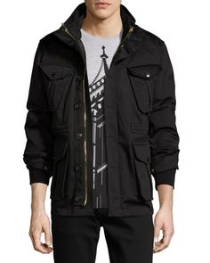 Sympson+3-in-1+Field+Jacket,+Black+by+Burberry+at+Neiman+Marcus.