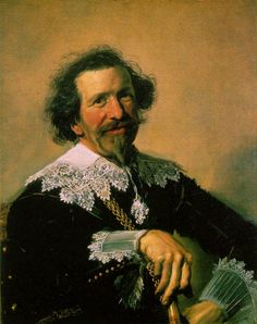 Portrait of Pieter van den Broecke by Dutch painter Franz Hal (1582 - 1666). I've always loved this painting because of the pleasant expression on the man's face. Plus the hand on the cane is incredibly well done. (Note the missing half pinky.) Not to mention the lace at the collar. Just a spectacular portrait.