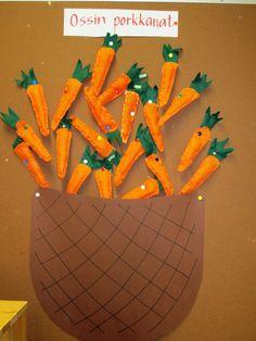 Porkkanat 2 lk Autumn Crafts, Handicraft, Art For Kids, Needlework, Fall Winter, Arts And Crafts, Textiles, Crafty, Sewing