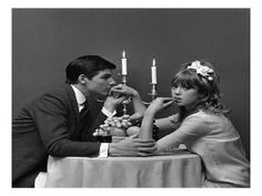 View this item and discover similar for sale at - 'The Big Question' Limited Edition silver gelatin print V&A Portfolio Pattie Boyd and model posing as a couple dining, John French London, 1960 Pattie Boyd, Couple Aesthetic, 1960s Fashion, Couple Shoot, Pose Reference, White Photography, Vintage Photography, Photography Ideas, Portrait