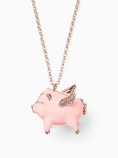 Kate Spade Imagination Pig Locket In Pink Multi Cute Baby Pigs, Pig Necklace, Tout Rose, Bff, Animal Jewelry, Cute Jewelry, Fancy Jewellery, Jewelery, Kate Spade