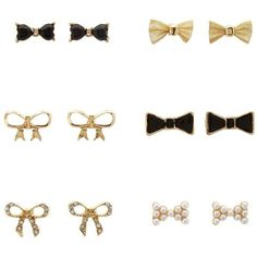 Charlotte Russe Gold Mixed Bow Stud Earrings - 6 Pack by Charlotte... ($2.99) ❤ liked on Polyvore