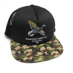 a1c6e25a3aa Diamond Supply Co Game Assn Camo Trucker Hat Black Snapback Adjustable