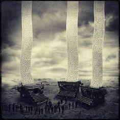 giant typewriters typing long sheets of sentences, photo manipulations art by sarolta ban