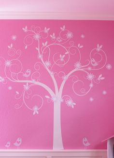 Wall Designs For Girls hand painted cherry blossom tree tutorial for a babies room