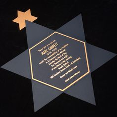 Bar Mitzvah Invitation With Star Of David Shape Card And Gold ...