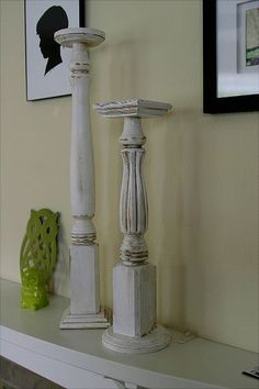 How awesome  She knits Shizknits made these beautiful pillar candle holders out of candle legs  redwood fence caps  and wood