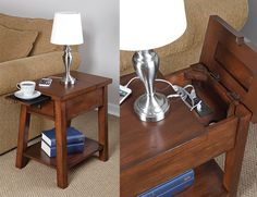 This stylish wooden end table has a discreet charging station built-in underneath a clever hinged lid that includes two standard power outlets and two USB charging ports.
