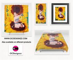 A day in the garden woman sitting on fluffy Sunflowers. #Home decor, #bathroom decor, #art, #society6