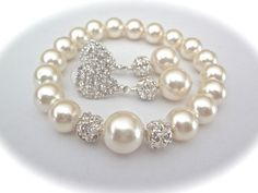 Pearl bracelet and earring set   Chunky   by QueenMeJewelryLLC