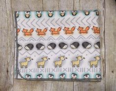 Fox Receiving Blanket - Hedgehog Swaddle Blanket - Owl Baby Flannel Blanket - Baby Girl or Boy Blanket - Baby Photo Prop - Baby Bedding