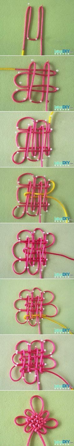 DIY Chinese New year ornament with great Chinese knot directions <<< huh New Year's Crafts, Fun Crafts, Diy And Crafts, Arts And Crafts, Paracord, Chinese New Year Crafts, Micro Macramé, Macrame Knots, Bijoux Diy