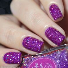A fan and media favorite! Jolly is a beautiful purple holographic microglitter nail polish. Color description: Neon purple Finish: jelly with full coverage super holo microglitters Number of coats: 2 Holographic effect: Strong Texture: slightly textured- Purple Glitter Nails, Purple Nail Polish, Holographic Nail Polish, Sparkle Nails, Glitter Nail Polish, Nail Polish Colors, Holographic Glitter, Pink Nail, Acrylic Nails