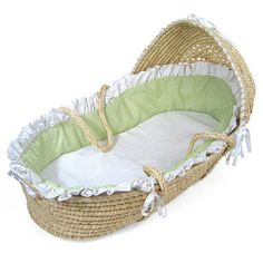 Badger Basket Moses Basket with Hood, Sage Gingham