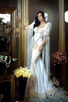 LOOK: The Bb Pilipinas 2017 candidates in stunning national costumes Modern Filipiniana Gown, Filipiniana Wedding, Wedding Gowns, Philippines Dress, Philippines Fashion, Philippines Culture, Debut Gowns, Filipino Wedding, Gown Pattern