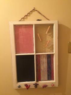 A window I created for my Mom. using an old window, chalkboard paint, chicken wire, drawer pulls and scrapbook paper.