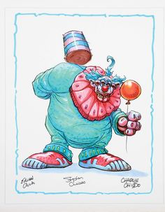 Killer Klowns from Outer Space print featuring a Klown with a balloon signed by all three Chiodo brothers.