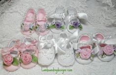 Baby Crib Shoes  French Ribbonwork by lambsandivydesigns on Etsy