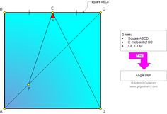 Geometry Problem 879: Square, Midpoint, Diagonal, Ratio 3:1, Angle Measure. Level: High School, Honors Geometry, College, Mathematics Education, Teaching, Learning Math Tutor, Math Teacher, Maths, Geometry Problems, Math Problems, Plane Geometry, Sat Prep, Online College Degrees, Science Lessons