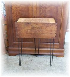 Shipping Crate TABLE w Eames Era Hairpin al Legs