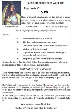 """Christian Books :: """"FACTS: the Chapbook Series"""" :: FACTS: Rapture :: Can someone know when the Rapture is?"""