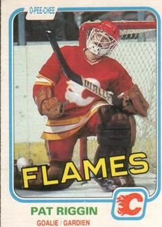 """Happy b'day to Pat Riggin & his Wally goal stick. Pat backstopped Flames all the way to Semifinals back in Hockey Games, Nfl Fans, Good Ol, Calgary, Nhl, Goals, Baseball Cards, Sports, Twitter"