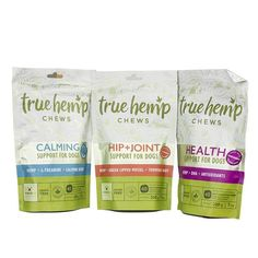 True Hemp Chews - (Support For Dogs Only) They're formulated with hemp seed oil, hemp oil, and amino acids.