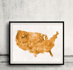 Watercolors Usa Maps And Poster On Pinterest - Orange map us states