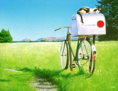a mail box on an old bicycle