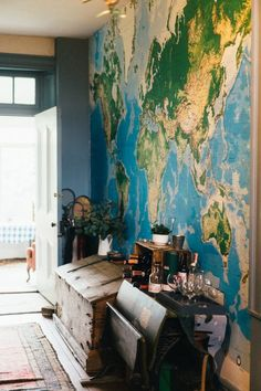 Our giant map wall mural large wall map mural World Map Painting, World Map Wall Decal, World Map Wallpaper, World Map Decor, World Map Wall Art, Wall Wallpaper, Map Wall Decor, Wall Maps, Water Color World Map