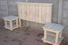 white washed headboard | WHITEWASH HEADBOARD WITH 2 PEDESTALS - furniture - Stuff for Sale