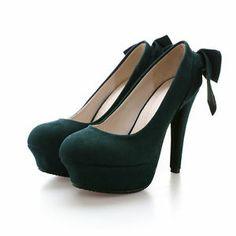 Dark green bow heel