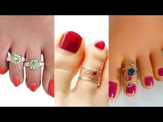 Designer Toe Rings Designs - Gold Plated, Fancy & Unique Toe Rings for Women. Stylish Toe Rings Designs - Beautiful Toe rings for women. Toe Ring Designs, Toe Rings, Fancy, Nails, Unique, Earrings, Youtube, Gold, Beauty