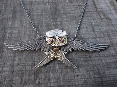 """""""Diving Gray Owl"""" Clockpunk Steampunk Sculpture Pendant Necklace, Watch Movement & Gears with Swarovski Crystals on Cable Link Chain"""